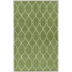Hand-tufted Green Duvet Geometric Trellis Wool Rug (8' x 11')