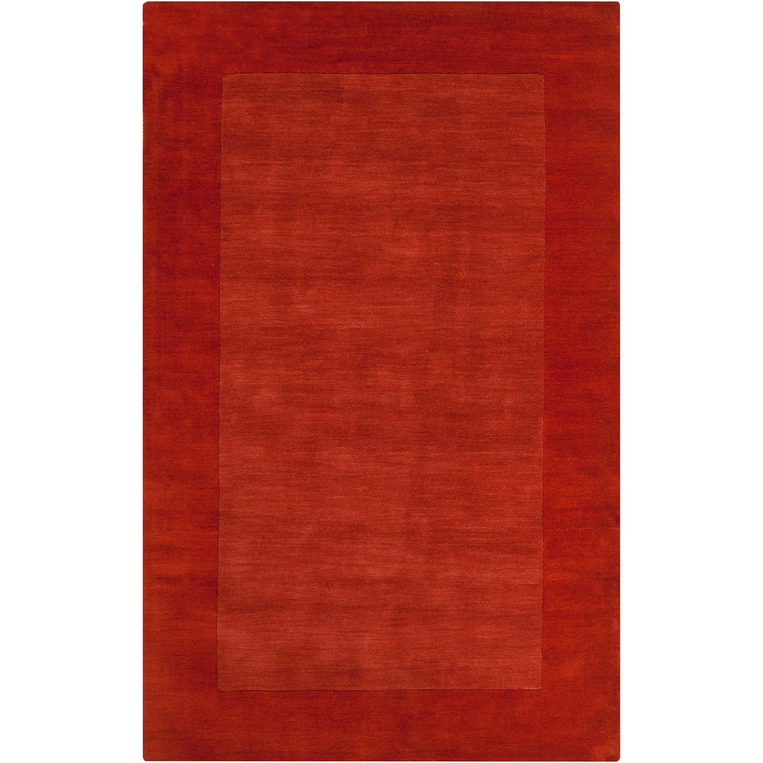Hand-crafted Orange Tone-On-Tone Bordered Pechora Wool Rug (5' x 8')