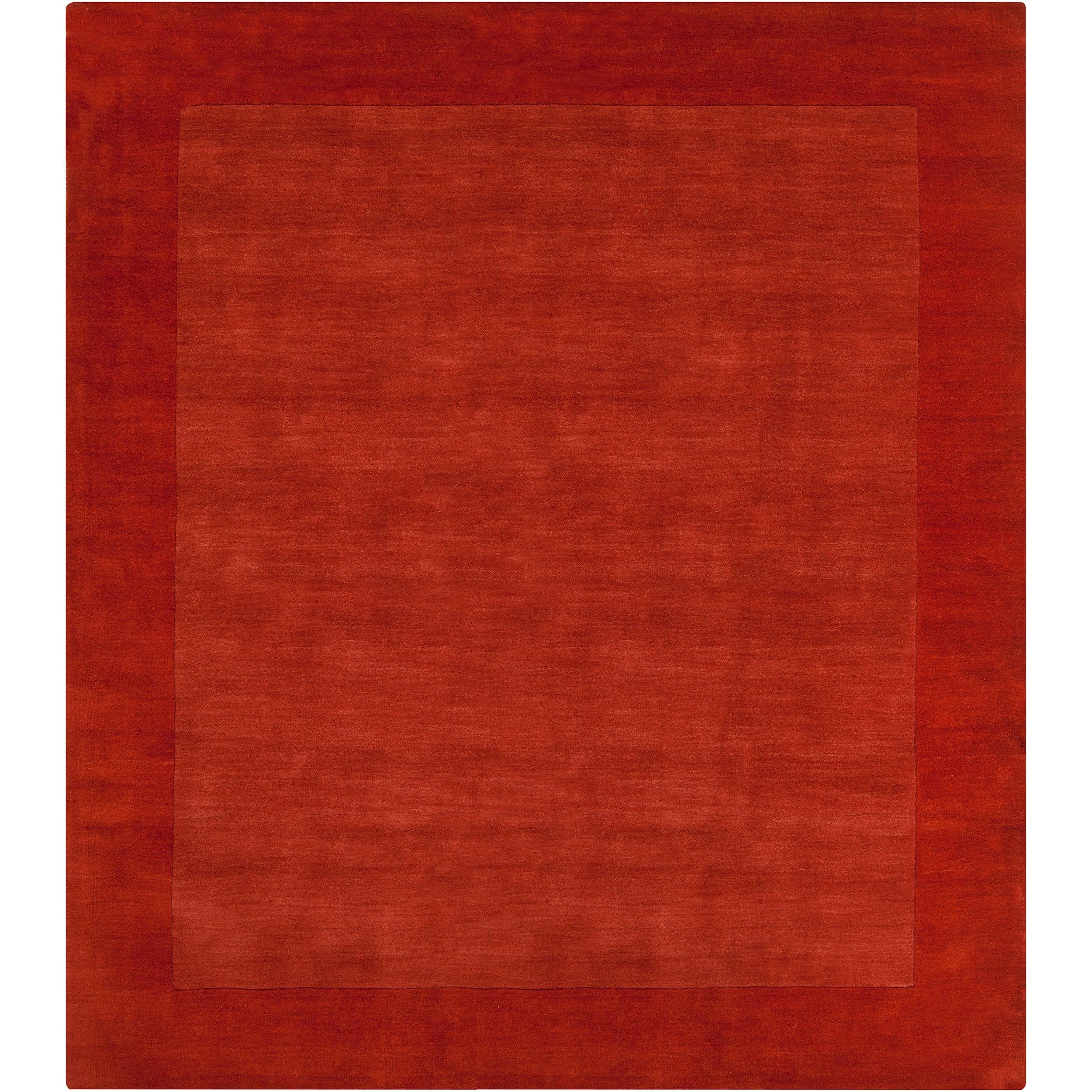 Hand-crafted Orange Tone-On-Tone Bordered Pechora Wool Rug (8' Square)