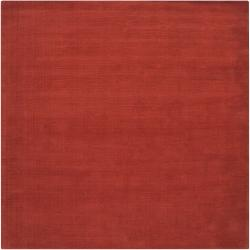 Hand-crafted Orange Solid Casual Pinega Wool Rug (8' Square)