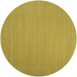 Hand-crafted Moss Green Solid Casual Voronya Wool Rug (6' Round)