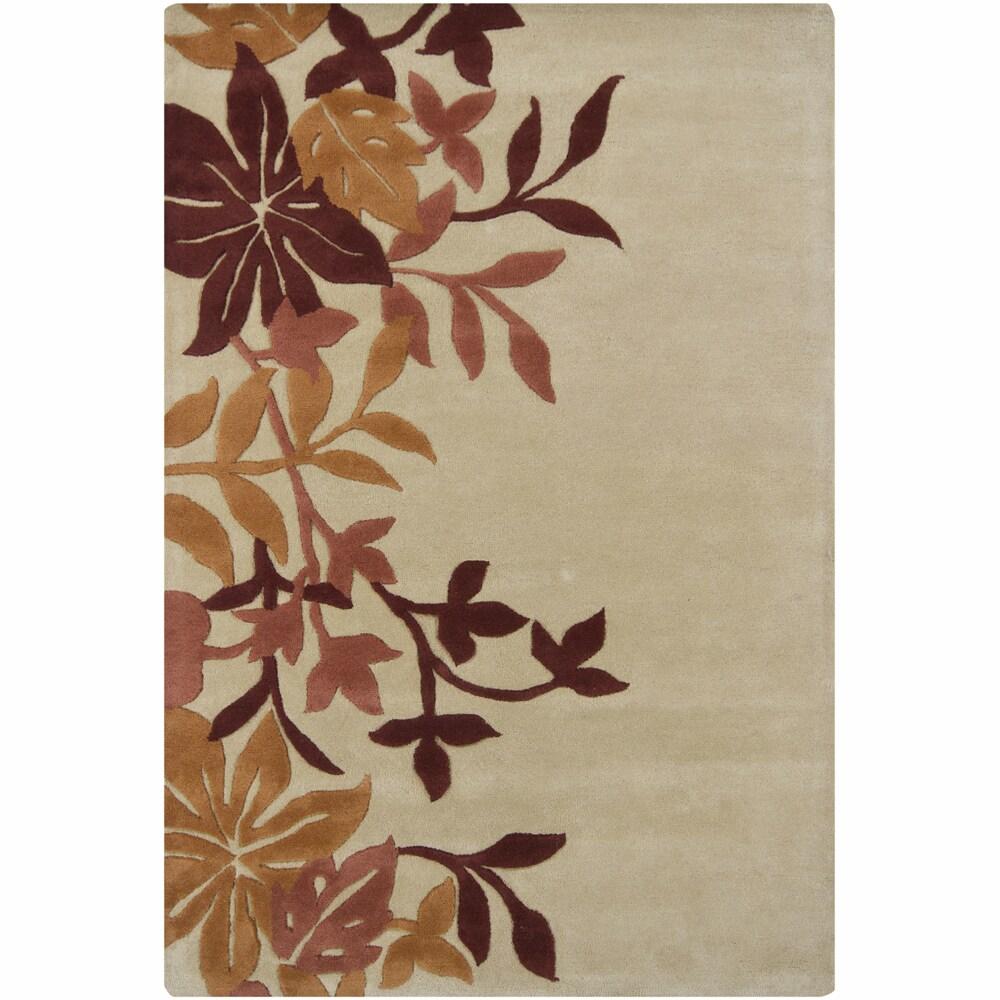 "Hand-Tufted Mandara Floral Tan Wool Rug (7'9"" x 10'6"")"