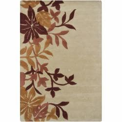 Hand-Tufted Mandara Floral Tan Wool Rug (7'9