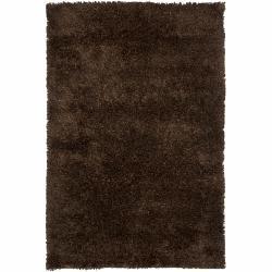 Hand-woven Contemporary Mandara Brown Shag Rug (9' x 13')