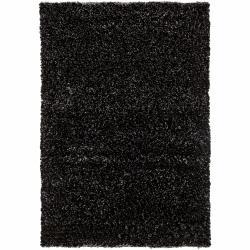 Hand-woven Contemporary Mandara Black Shag Rug (9' x 13')