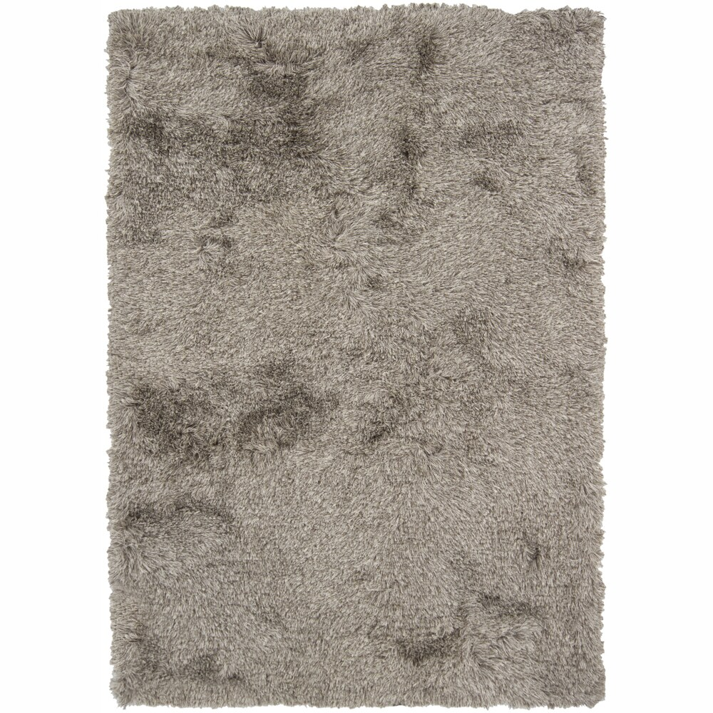 Handwoven White/Brown Mandara Shag Area Rug (5' x 7'6)