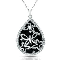 Auriya 14k White Gold Black Onyx and 1/3ct TDW Diamond Necklace (G-H, I1-I2)