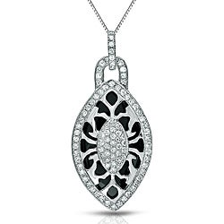 Auriya 14k White Gold Black Onyx and 3/8ct TDW Diamond Necklace (G-H, I1-I2)