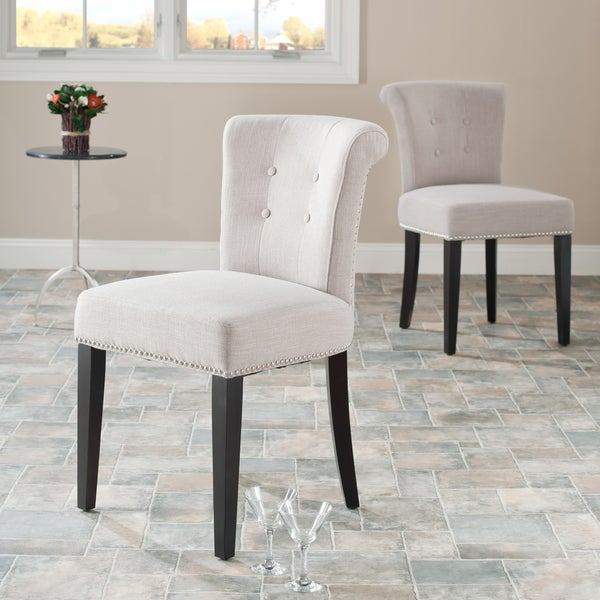 Safavieh Bordeaux Beige Linen Nailhead Dining Chairs (Set of 2)