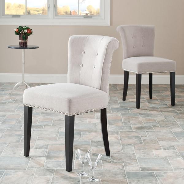 Safavieh En Vogue Dining Bordeaux Beige Linen Nailhead Side Chairs (Set of 2)