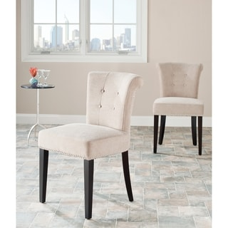 Safavieh Bordeaux Beige Polyester Nailhead Dining Chairs (Set of 2)