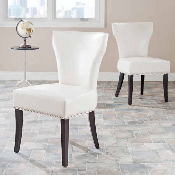 Safavieh En Vogue Dining Matty Cream Leather Nailhead Side Chairs (Set of 2)