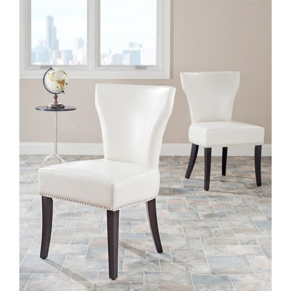 Geometric Contemporary Leather Dining Room Side Chair In Black – Cream Leather Dining Room Chairs