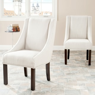 Safavieh Sloping Arm Beige Linen Nailhead Dining Chairs (Set of 2)