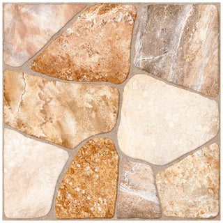 SomerTile 17.75x17.75-inch Rhone Beige Ceramic Floor and Wall Tiles (Pack of 7)