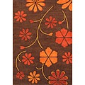 Hand-tufted Harmonia Wool Brown Rug (6'7 x 10')