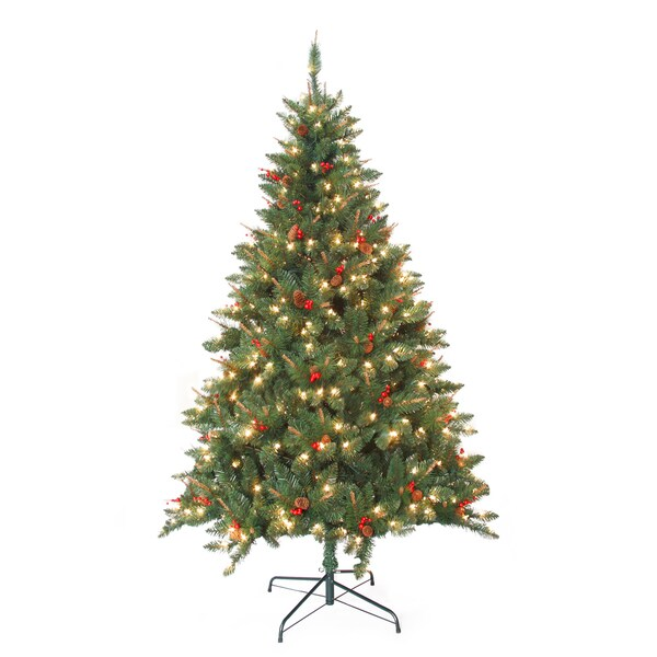 Pre-Lit Berrywood Pine 7-foot Artificial Christmas Tree