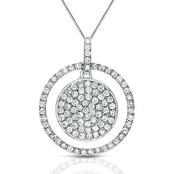 Auriya 14k White Gold 1/2ct TDW Diamond Double Circle Necklace (G-H, I1-I2)
