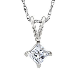 Platinum 1/3ct TDW Princess-cut Diamond Solitaire Necklace (G-H, SI1-SI2)