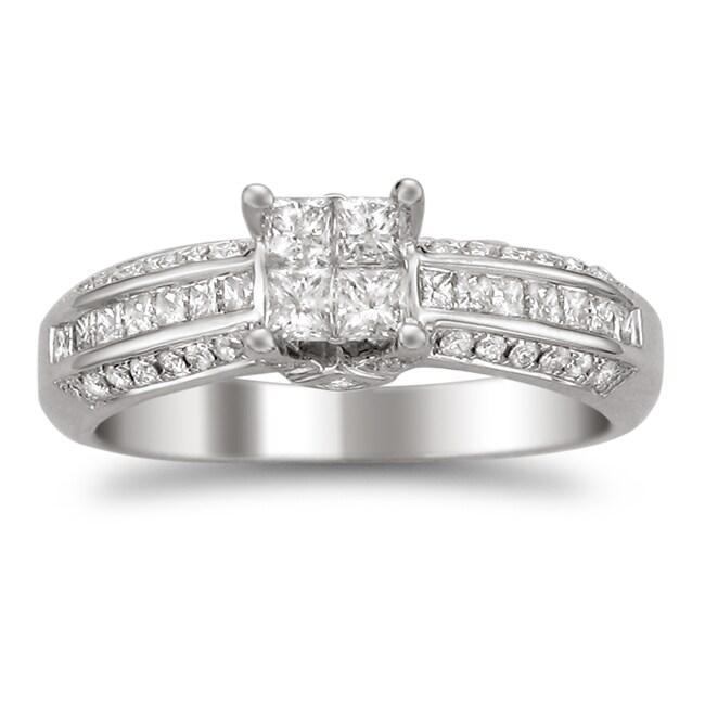 Montebello 14k White Gold 7/8ct TDW Diamond Composite Engagement Ring (H-I, I2)
