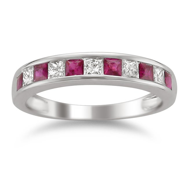 14k White Gold Ruby and 2/5ct TDW Diamond Band (H-I, I1-I2)