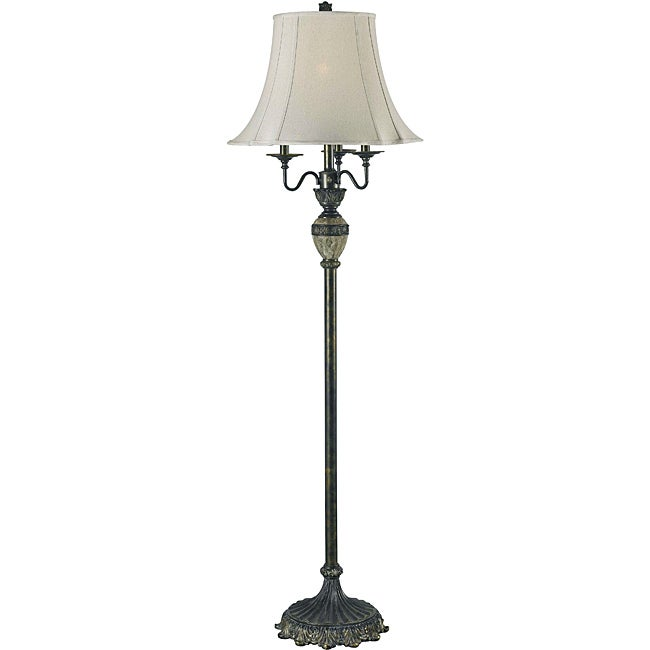 Tudor 64-inch Bronze with Marble Accents Floor Lamp