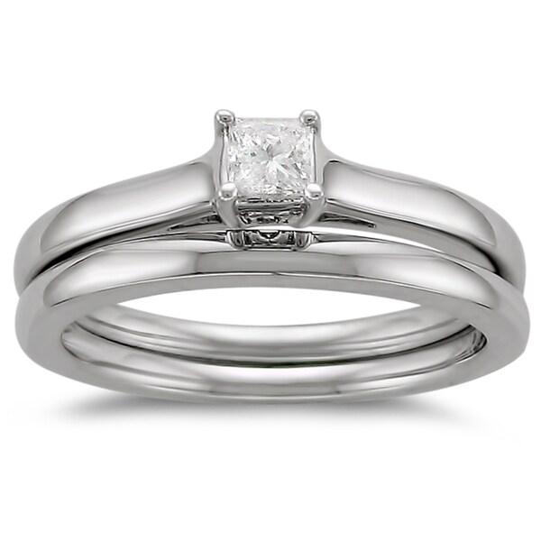 Brides Across America 14k Gold 1/4ct TDW Diamond Solitaire Bridal Ring Set (I-J, I1-I2)