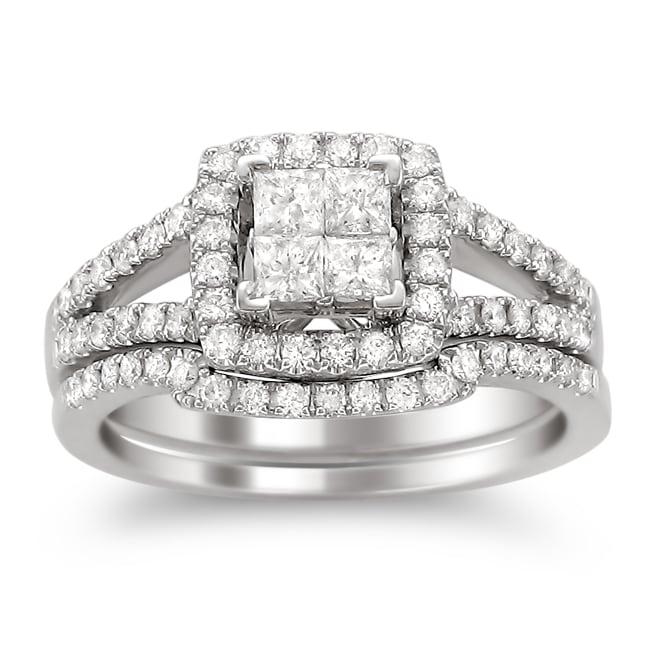 Montebello 14k White Gold 1ct TDW Diamond Bridal Ring Set (H-I, I1-I2)