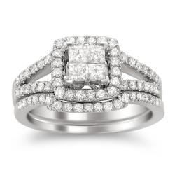 14k White Gold 1ct TDW Diamond Composite Bridal Ring Set (H-I, I1-I2)