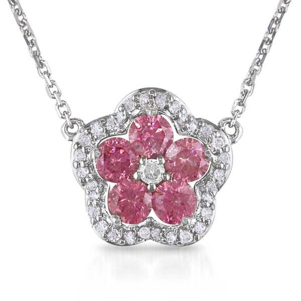 Miadora 14k Gold 1/2ct TDW Pink Diamond Flower Necklace (H-I, I1-I2)