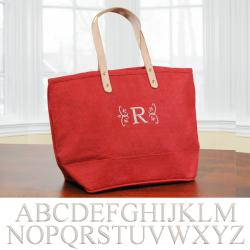 'Nantucket' Red Personalized Tote