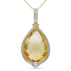 Miadora 14k Yellow Gold Citrine and 4/5ct TDW Diamond Necklace (G-H, SI1-SI2)
