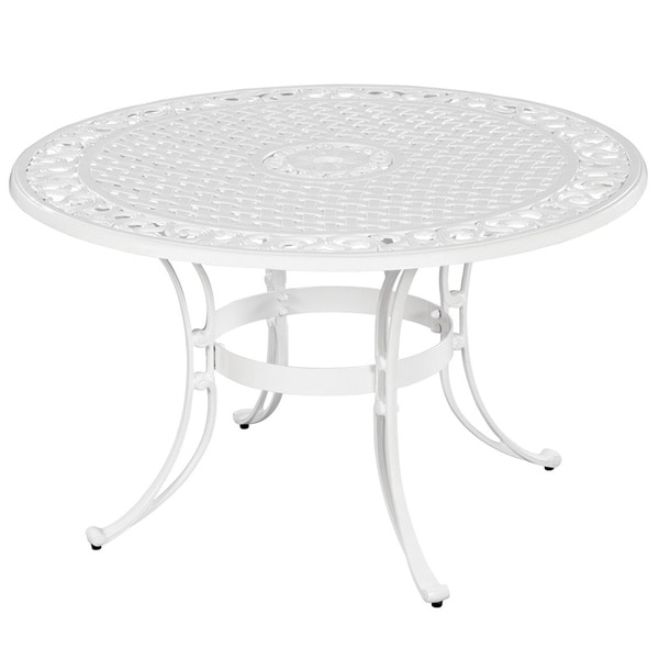 """Home Styles Dining Table - Round Top - Four Leg Base - 4 Legs x 48"""" Table Top Diameter - Assembly Required - Clear Coat, Powder Coated, White"""