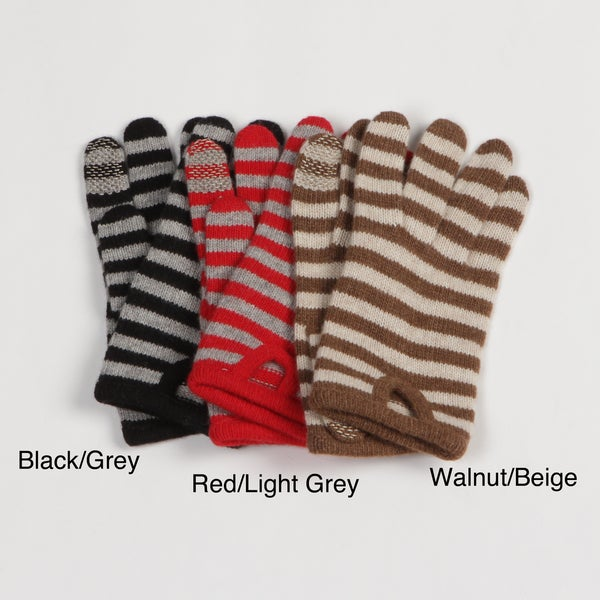 Portolano Women's Cashmere-Blend Striped Texting Gloves FINAL SALE