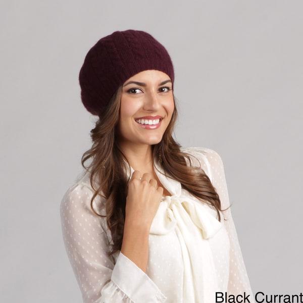 Portolano Women's Cable Knit Cashmere Beret