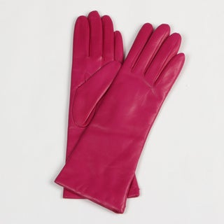 Portolano Women's Hot Pink Cashmere Lined Leather Gloves