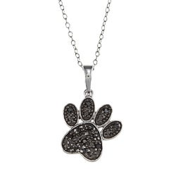Sterling Silver 1/10ct TDW Black Diamond Dog Paw Necklace