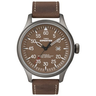 Timex Men's T49874 Expedition Military Field Brown Leather Strap Watch