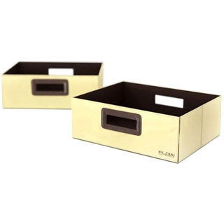 Flow Wall Decor Wide Collapsible Beige Storage Bins (Set of 2)