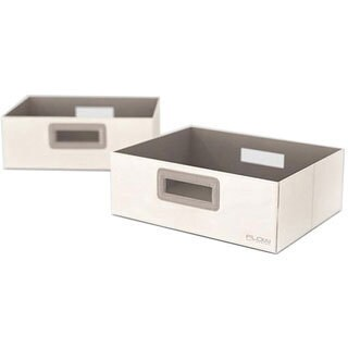 Flow Wall Decor Wide Collapsible Cream Storage Bins (Set of 2)