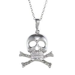 Silver 1/10ct TDW Diamond Skull and Crossbones Fashion Necklace (J-K, I3)