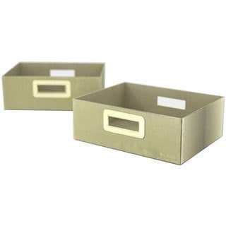 Flow Wall Decor Wide Collapsible Olive Storage Bins (Set of 2)