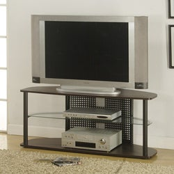 Tempered Glass Cappucino Metal TV Stand
