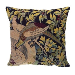 Corona Decor French woven Bird and Flower Feather and Down Filled Theme Pillow