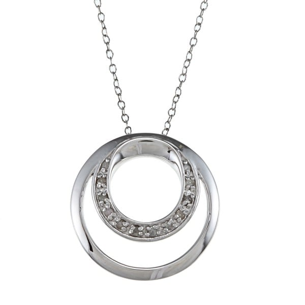 Sterling Silver 1/10ct TDW Diamond Double Circle Necklace (J-K, I3)