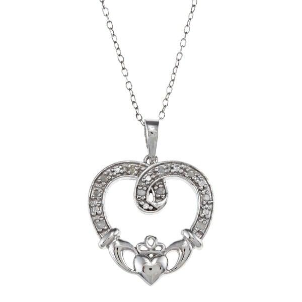 Sterling Silver 1/10ct TDW Diamond Claddagh Heart Necklace (J-K, I3)