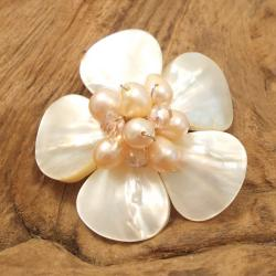 White Floral Plumeria Mother of Pearl Pin/Brooch (Thailand)