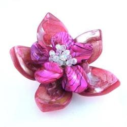 Pink Floral 'Water Lotus' Mother of Pearl Pin/Brooch (Thailand)