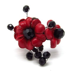 Red Garden Floral Leather Ring (Thailand)