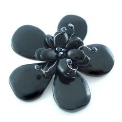 Blooming Daisy Black Agate Floral Pin/Brooch (Thailand)